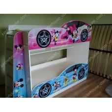 Двухъярусная кровать для девочек Минни Маус +полки