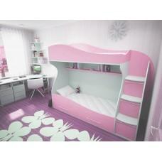 Двухъярусная кровать для девочек Волна в разных цветах