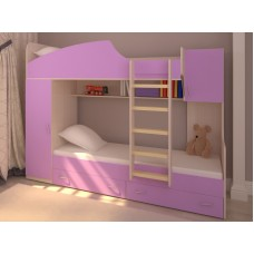 Двухъярусная кровать со шкафом для девочек Бест