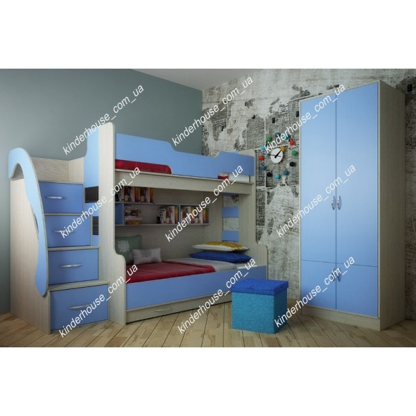 Кровать-чердак Семейная голубая. Двухъярусная кровать. Кровать комната.