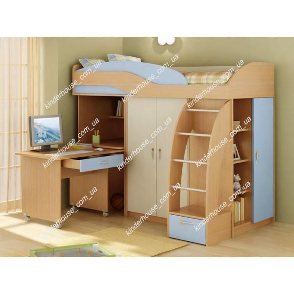 Кровать-чердак со шкафом и рабочей зоной Асоль голубая. Кровать комната.