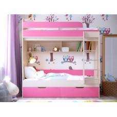 Двухъярусная кровать для девочек Юниор компакт розовая