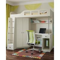 Кровать-чердак дуб молочный со шкафом и рабочей зоной Астра. Кровать комната.