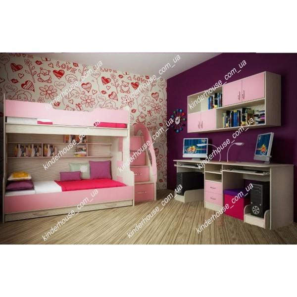 Кровать-чердак Семейная розовая. Двухъярусная кровать. Кровать комната.