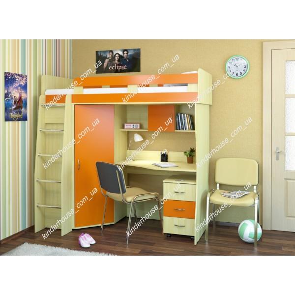 Кровать-чердак со шкафом и рабочей зоной Умка. Кровать комната.