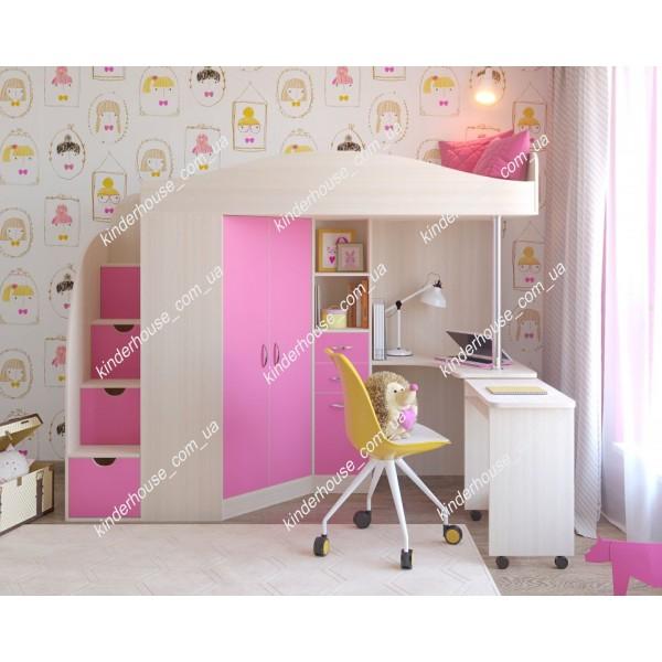 Кровать-чердак со шкафом и рабочей зоной Омега. Кровать комната.