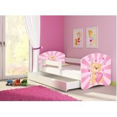 Детская кровать с бортиками. Кровать для девочки Мишка Тедди