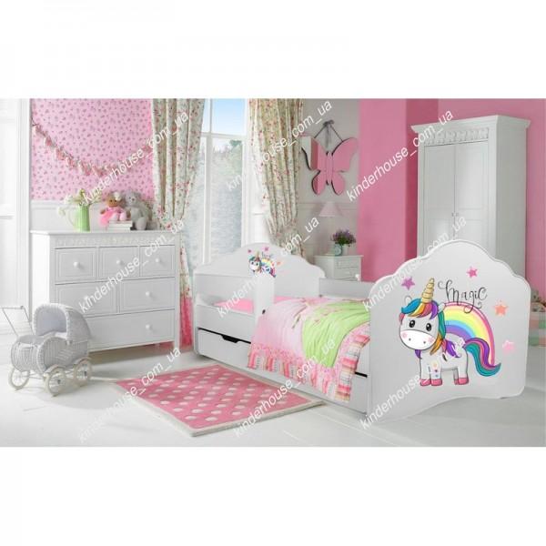 Детская кровать с бортиками. Кровать для девочки Единорог 2