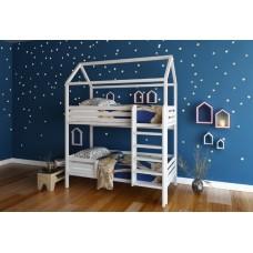 Детская двухъярусная кровать-домик для двоих детей белая. Ліжко-будиночок