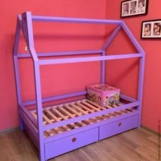 Детская кровать-домик для двочки с ящиками Лилак . Ліжко-будиночок