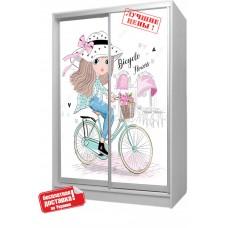 Шкаф купе в детскую с фотопечатью Девочка на велосипеде Бесплатная доставка!