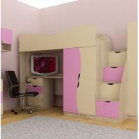 Кровать-чердак модульная  Бантик для девочки Бесплатная доставка!