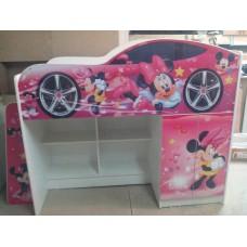 Кровать чердак для девочки Минни Маус розовая